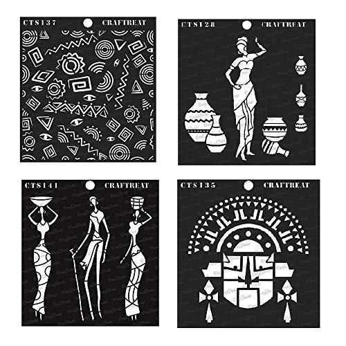 Craftreat Tribal-Motiv, 15,2 x 15,2 cm Tribal Family, Pose with Pots, Tribal Mask & Folkart Background 6