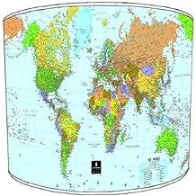 Premier Lampshades–Techo Mapa del mundo Drum Pantalla, 30,5 cm
