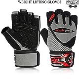 Gewichtheben Handschuhe Gym Workout Bodybuilding Handgelenk Unterstützung Hybrid Leder, grau/schwarz