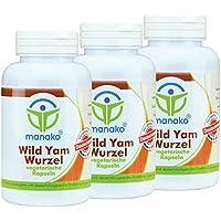 manako Wild Yams Wurzel vegetarische Kapseln, 3 x 120 Stück, Dose a 63 g (3 x 120 Kapseln) preisvergleich bei billige-tabletten.eu