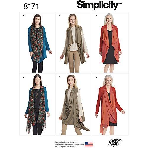 Simplicity 8171Patrón para Chaqueta o Chaleco de Punto de Mujer, Color Blanco