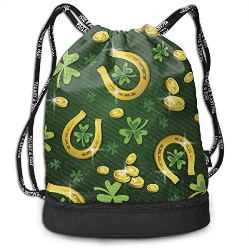doga St. Patrick's Clover Goldmünze Und Hufeisen Kordelzug Rucksack Sporttasche Für Frauen Männer Gym Wandern Reise Strand Mi