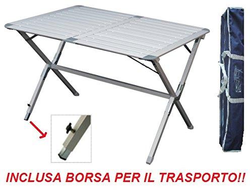 Tavolo TAPPARELLA Argo 110x70x72h CM in Alluminio con Piano TAPPARELLA - RICHIUDIBILE - Ideale per Veranda Camper E Campeggio - con Borsa Trasporto Inclusa
