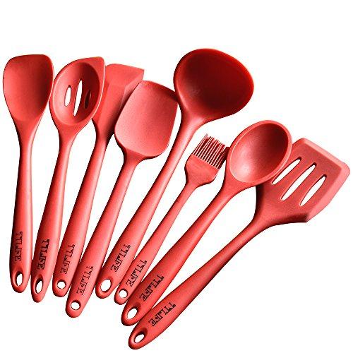 TTLIFE Premium Silicone Spatola da cucina utensili Set-8pezzi con spatola, schiumarola, mestolo, cucchiaio, spatola, spooula, Spatola, Pennello & # xFF08; colore: rosso & # xFF09;
