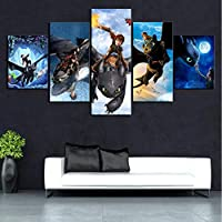 mmbj 5 Piece HD Cartoon Movie How To Train Your Dragon Poster Canvas Art Wall Paintings for Home Decor 30x40x2,30x60x2,30x80x1