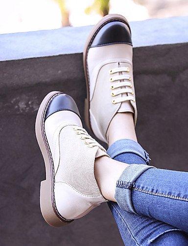 ShangYi Mode damenschuhe stiefel die Herbst/Winter Mode Stiefel Kunstleder Outdoor / Büro & Karriere flachem Absatz Lace-up Schwarz