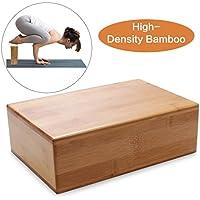 Bloque para yoga, bloque de madera de bambú para yoga, soporte para mejorar posturas, mejorar la fuerza, el equilibrio y la flexibilidad, inocuo, inodoro y resistente al agua