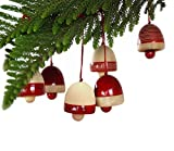 Maya Organic Handcrafted Wooden Christmas Decor : BELLS - Red (set of six)