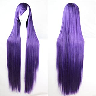 Womens Ladies Girls 100cm Purple Color Long Straight Wigs High Quality Hair Carve Cosplay Costume Anime Party Bangs Full Sexy Wigs