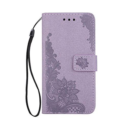 Phenix Blumen Prägemuster Faux Leder Horiontal Folio Stand Case mit Lanyard Card Slots für Samsung Galaxy A5 (2017) ( Color : Purple ) Purple