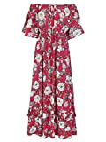 Missy Chilli Damen Lang Kleid Sommer Elegant Off Shoulder Kurzarm Blumen Boho Chiffon Maxi Kleid Strandkleid Dress Rot