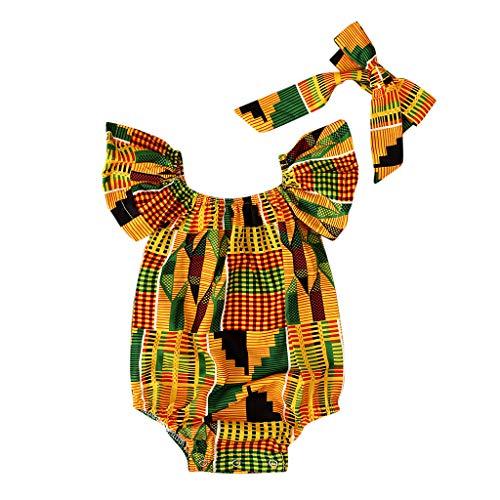 Sanahy Babykleidung Mädchen Vintage,Strampler Kleinkind Kinder Baby Mädchen Outfits Kleidung Afrikanischer ethnischer Druck Ärmelloses Jumpsuit Overall+Schmetterlingsknoten Haarband