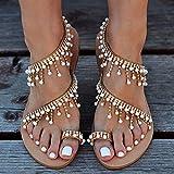 Sandali Piatti con Cinturino da Donna, Bohemia Vintage Gioiello Perline Toe Ring Sandali Gladiatore Scarpe da Spiaggia Romane,38