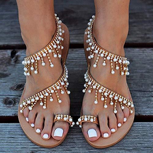 Frauen Riemchen Flache Sandalen, Böhmen Vintage Jeweled Perlen Zehe Ring Gladiator Sandalen römische Schuhe Strandschuhe,43