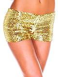 Moon Angle Damen Sexy Sequins Elastische Shorts Hosen Tanz Clubwear Paillette Shorts (Gold)