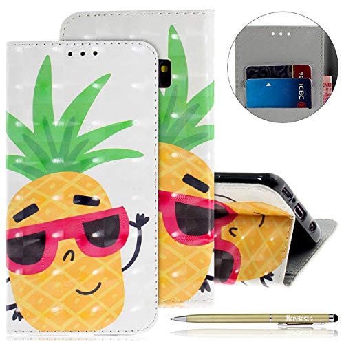 Herbests Kompatibel mit Lederhülle Galaxy S9 Bunt Ledertasche Handytasche Flip Case Retro Glitzer Bling Glänzend Leder Hülle Handy Schutzhülle Klapphülle Handyhülle,Ananas
