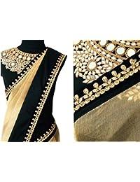 OrangeSell Designer Cream And Black Best Quality Sarees Best Designer Fancy Bollywood Party Wear Wedding Saree...