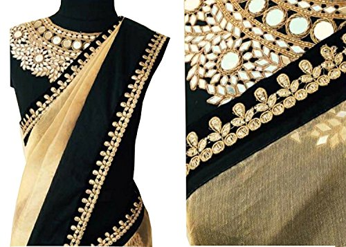 OrangeSell designer cream and black best quality sarees best designer fancy bollywood...