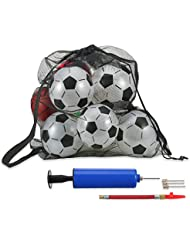 Mesh Ball Bag Black Large Drawstring Balls Carrying Net with Shoulder Strap for Football Basketball Volleyball, Included Ball Pump Kit