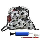 Mesh Ballsack Balltasche Schwarz Groß Drawstring Balltragenetz mit Schultergurt für Fußball Basketball Volleyball, Inklusive Kugelpumpe Kit