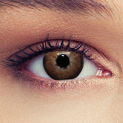 """Lentillas de color avelada marrón natural para los ojos oscuros de tres meses sin dioprtías / corregir + gratis caso de lente """"Dimension Hazel"""""""