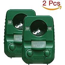 2er-Set AngLink Solar Katzenschreck Ultraschall abwehr mit Batteriebetrieben und Blitz - Wetterfest - Katzen Vertreiber, Hundeschreck, Marderschreck, Waschbären, Tierabwehr[Neuste Upgrade-Version]