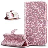 ikasus Coque iPhone SE 5S 5 Etui,Motif Coloré Lettres Relief Housse en Cuir PU Etui...