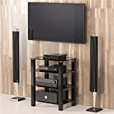 FITUEYES Glass HIFI TV Stand Media Component Shelf/Rack/Cabinet AS406002GB