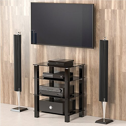 fitueyes tv rack hifi regal audio schrank mit schwarz glas und alu as406002gb bestseller. Black Bedroom Furniture Sets. Home Design Ideas