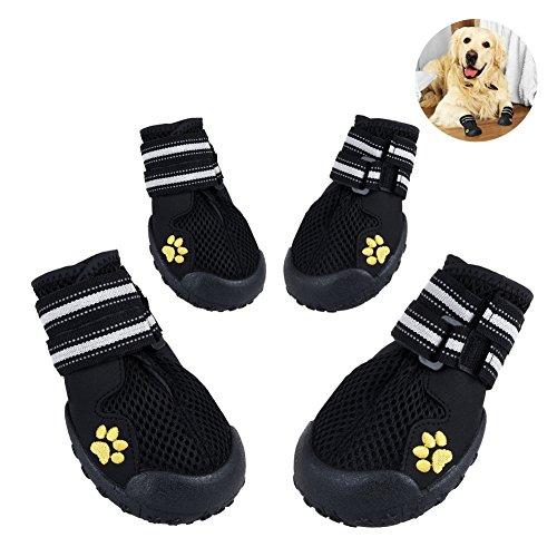 Petacc Botas para Mascota Transpirable Zapatos para Perros Antideslizantes con Tiras Reflectantes,...