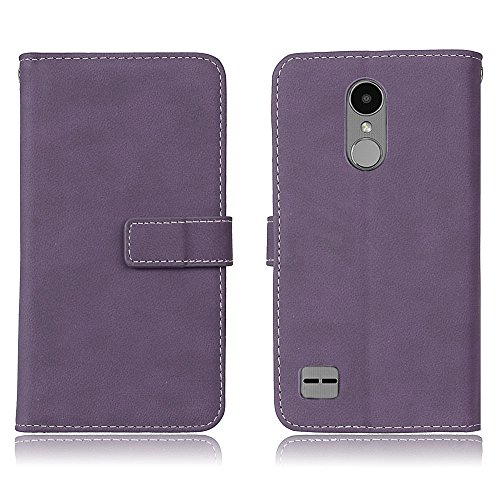 EKINHUI Case Cover Retro Frosted Style Cover Shell Luxus PU Ledertasche Horizontale Flip Stand Brieftasche Tasche mit 9 Card Slots Für LG K10 2017 & LV5 ( Color : Green ) Purple