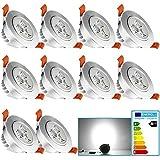 VINGO® 10X 3W LED Spot Einbaustrahler Kaltweiß Decken Lampe 230V Einbauleuchte Außen Leuchte Badezimme Leuchtmittel