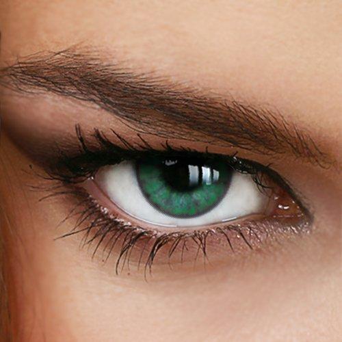 Farbige Jahres-Kontaktlinsen MISTY GREEN - Ohne Stärke in GRÜN - Naturmuster - von LUXDELUX® - (+/- 0.00 DPT)