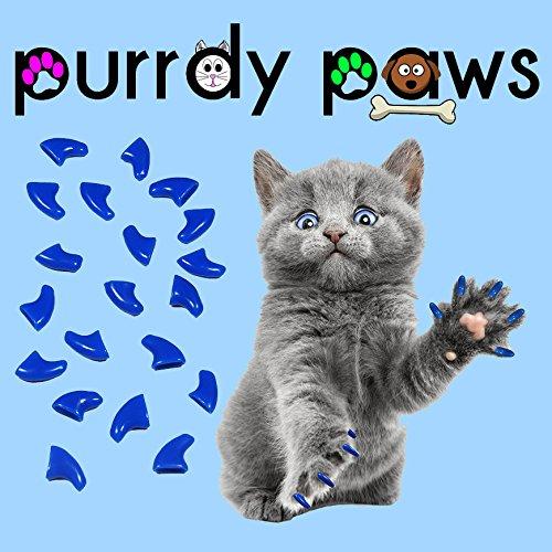 40er Soft Nail Kappen für Katzen Krallen blau * purrdy Pfoten Marke
