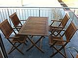 5 teilige Sitzgruppe 4 Stühle 1 Tisch Gartenmöbel Holz Gartentisch Esstisch Sitzgarnitur 98490