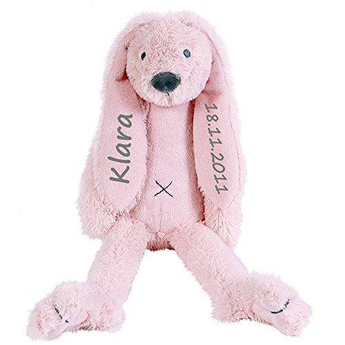 Stofftier Hase mit Namen und Geburtsdatum personalisiert Geschenk 40cm rosa
