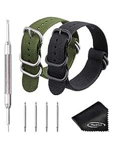 2 Pezzi 22 mm Cinturini per Orologio Ricambio Cinturini in Nylon, Verde Militare e Nero, con Barre a Molla Link Pin Remover e Panno per Pulizia