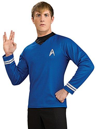 Spock Kirk Kostüm Und - Lizenziertes Star Trek-Kostüm - Shirt - Scotty/Kirk/Spock - Blau - Größe XL