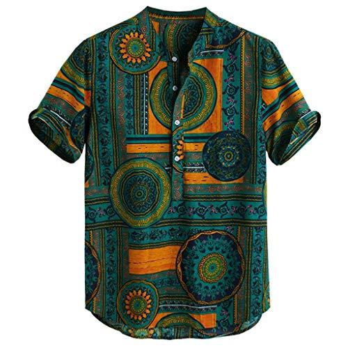 Beikoard Herren Freizeithemd Baumwolle Leinenhemd gedruckt Männer Kurzarm Sommerhemd Casual Henley Shirts Krawatte Sommer Tops