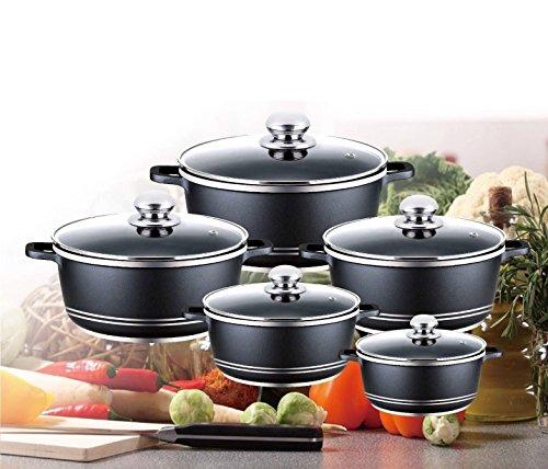 10 Pieces Non-stick Cooking Pots / Die-cast Casserole Pot Set Black Color by ARSUK®