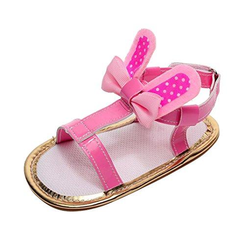 HUIHUI Baby Schuhe, Cartoon Hasenohren Weiche Flache Sandale Kinder Pricness Beach Schuhe Mädchen Hausschuhe Mary Jane Halbschuhe Soled Anti-Slip Shoes (13 (6-9M), Rosa)