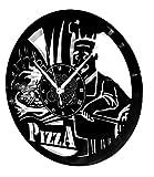 Horloge Murale en Vinyle Cadeau Fait Main Décorations Pour la Maison Home Office Cuisine Taverne Pizza Pizzeria