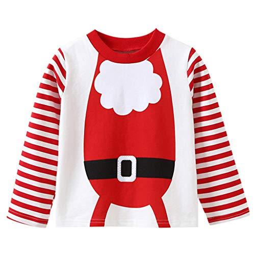 (ALISIAM Winter Weihnachten Kind Junge Mädchen Mode Freizeit Gemütlich Warm halten Drucken Streifen Lange Ärmel Rundhals Sweatshirt Mantel Kinderkleidung)