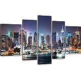 New York Skyline bei Nacht Kunstdruck XXL - Riesen Wand Bilder von Manhattan 170x100cm; 5 teilige auf Canvas Leinwand fertig auf Keilrahmen