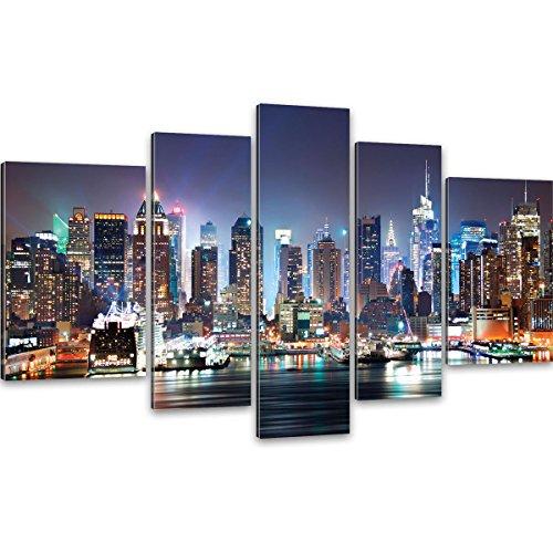 Goods & Gadets GmbH New York Skyline bei Nacht Kunstdruck XXL - Riesen Wand Bilder von Manhattan 170x100cm; 5 teilige auf Canvas Leinwand fertig auf Keilrahmen -