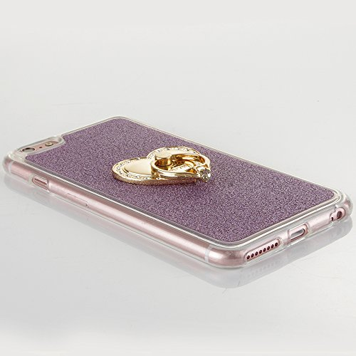"Translucide Cover avec Kickstand Ring pour Apple iPhone 6/6s 4.7"", CLTPY Soft Gomme Shell dans 2in1 Amovible Scintillate Glint Motif Antipoussière Anti-rayures Ultra Mince Léger Fit pour iPhone 6,iPho Purple avec Anneau"