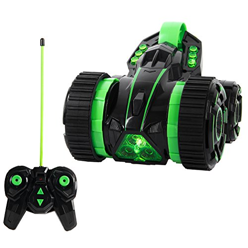 ANTAPRCIS Remote Control Stunt Car - 2.4Ghz Five Wheels Race 2WD RC Vehicle with LED Headlights Extreme High Speed 360 Degree Rolling Rotating Rotation - Indoors Outdoors - Gifts Cool Toy for Boys Girls Kids, Green