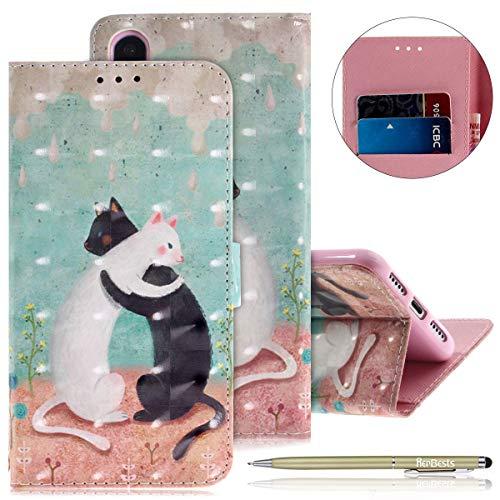 Herbests Lederhülle für Huawei P20 Bunt Ledertasche Handytasche Flip Case Retro Luxus Glitzer Bling Glänzend Leder Hülle Handy Schutzhülle Klapphülle Handyhülle,Katze
