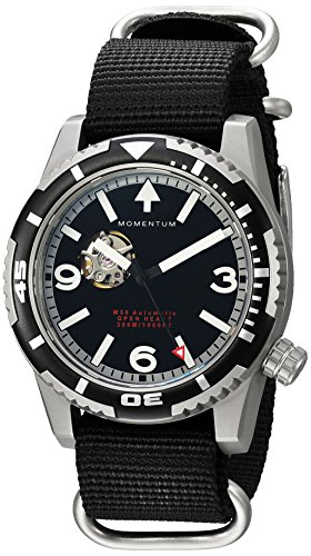 Momentum Men's 'M30 Open Heart Automatic' Mechanical Hand Wind Stainless Steel and Nylon Casual Watch, Color:Grey (Model: 1M-DV32B7S)