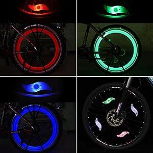 Tagvo 4pcs luz de radiodifusión de la bici (rojo + verde + azul + Multicolor), instalación fácil rueda luces del rayo para ambos adultos Bicicleta de los niños, impermeable LED neón lámpara del flash del neumático con 3 modelos que destellan